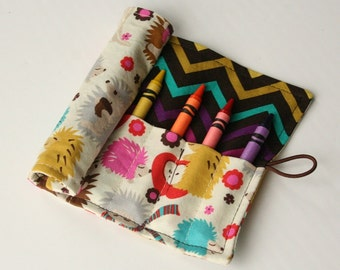 Crayon Caddy Roll Up - Hedgehog Meadow (8 Crayons Included) - Ready to Ship!