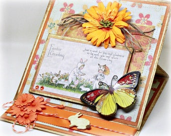 Easter Card - Handmade Easel Folded Spring Greeting Card - Easter Bunny Card - Butterfly Card - Flower Card