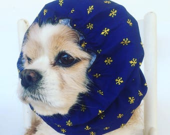 Navy Fleur di Lis Dog Snood, Cotton Long Ear Coverup, Cavalier King Charles or Cocker Snood, 3 Row Stitching