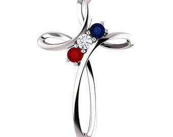 Family Birthstone Cross Pendant, Custom-Made for Your Family, 1 to 5 Stones, 925 Silver Pendant, Gift Idea for Mom, Grandma, Mothers Day