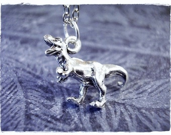 Silver Tyrannosaurus Rex Dinosaur Necklace - Silver Pewter T-Rex Charm on a Delicate Silver Plated Cable Chain or Charm Only