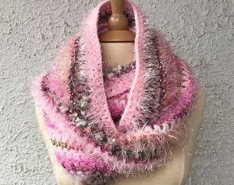 Crocheted Infinity Scarf Shades of Pink in Mohair Silk Wool and Eyelash Yarn Luxurious Novelty Yarns