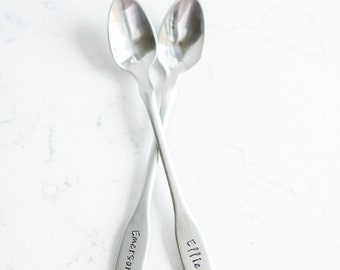 Personalized, Hand Stamped Baby Spoon and Keepsake toddler girl boy shower gift