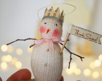 Think Snow Says this Tiny Handmade Snowman, Snowmen
