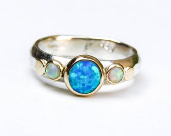Blue Opal Ring, Gold and Silver Ring ,14k Gold Ring ,Statement ring, Wedding set, Opal Ring, Anniversary ring, Gift for her, Bridal set ring