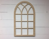 Unfinished Vintage Inspired 21x35 Vertical Arch Window Frame