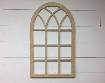 Unfinished Vintage Inspired 21x35 Vertical Arch Window frame gothic church screen