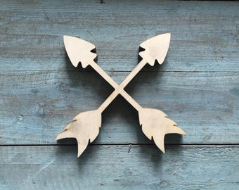"Mini 12"" Crossed Arrows Word Wood Cut Wall Art Sign kitchen restaurant home Decor Boho Abstract Design"