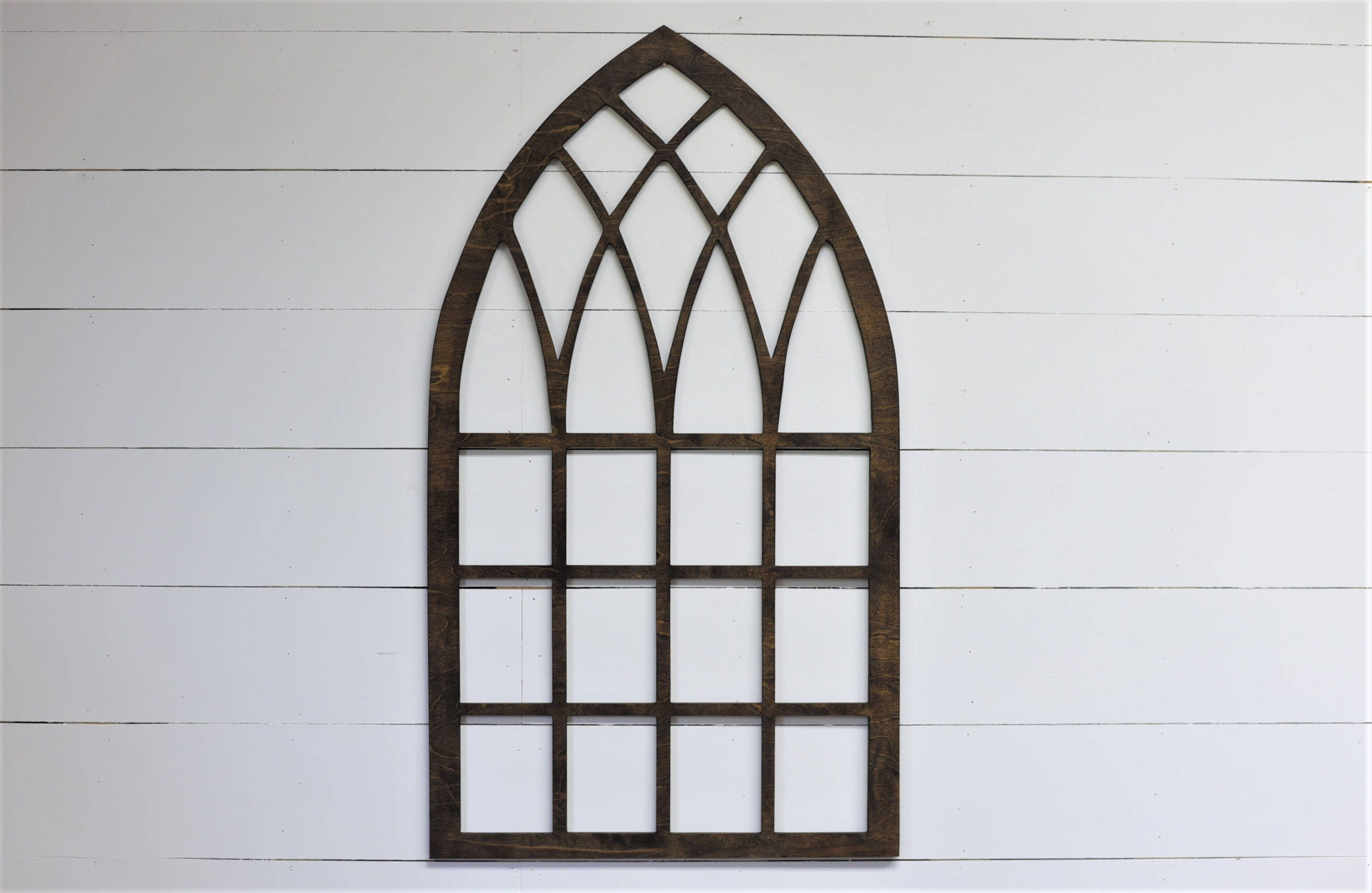 Vintage Inspired 46x26 Pointed Wooden Arch Window Frame