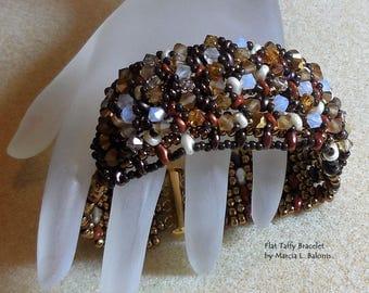KIT with Pattern Flat Taffy Bracelet Super Duo Seed Beads Crystals Herringbone