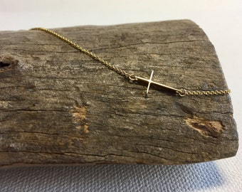 Solid Gold Sideway Cross Necklace,14K Gold Necklace,Link Cross Necklace, Gold Cross Necklace