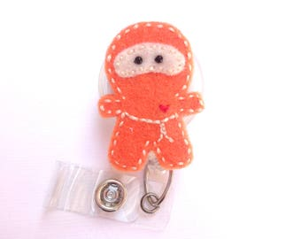 Badge Reel ID Holder Retractable - The Orange Ninja - orange and ivory felt - medical staff nurse badge reel - karate tae kwon do