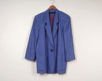 Royal Blue Linen Jacket 80s 90s vintage single button loose fitting long lined oversized blazer with pockets large 12 Dana Brooke