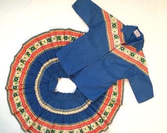 50s vintage cowgirl circle skirt and jacket set size 5 6 girls Southwestern Alpha Sportswear Tucson Arizona shirt and western prairie skirt