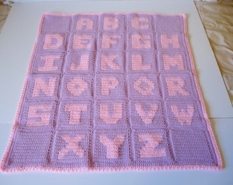 Crocheted Alphabet Soft Baby Infant Soft and Warm Blanket Afghan in Purple with Baby Pink Letters Great Baby Girl Shower Present Gift