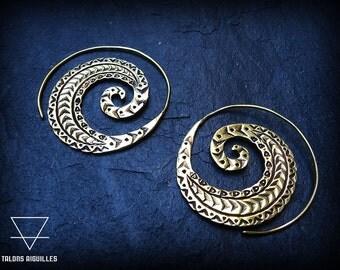 Boucles d'oreille en laiton # Brass indian earrings #  tribal earrings # tribal hoop