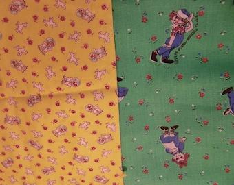 two vintage fabric scraps