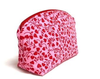 XL Domed Make-Up Bag in a Sweet, Heart Vine Pattern in Red and Pink