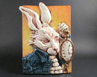 Ceramic Art Tile, ALICE In WONDERLAND - The White Rabbit, Handmade Wall Art Plaque, Lewis Carroll Children's Classic Book