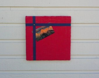 Bulletin pin Board, red burlap with an accent of navy cotton twill tape, modern design memo board for your office, kitchen or cabin