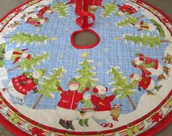 Christmas Tree Skirt, Snowman Tree skirt, Christmas Stocking Quilted Tree skirt, Small Tree Skirt, Fully Reversible