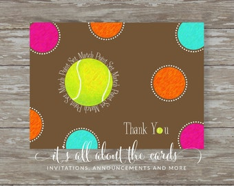 Set of 6 - 5 x 7 FLAT Tennis note cards with envelopes-THANK YOU