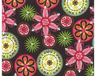 Michael Miller Carnival Bloom Brown Fabric - 1 yard