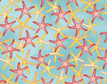 Windham Whistler Studios Coral Reef Aqua Starfish Fabric - 1 yard