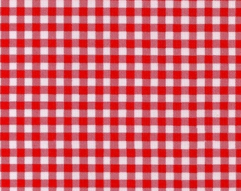 Large Round Oilcloth Tablecloth Red Gingham