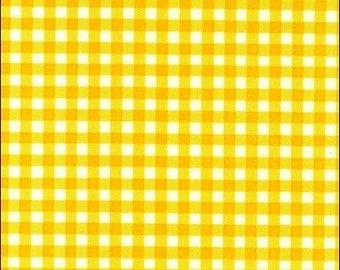 Round Oilcloth Tablecloth Gingham Yellow
