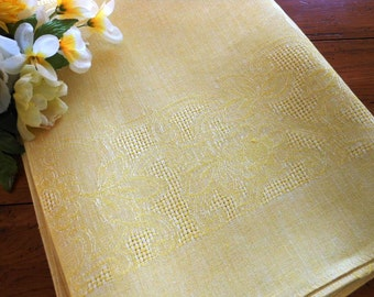 Gorgeous Vintage Czechoslovakian Drawn Thread Embroidery Yellow Damask Tablecloth Free Shipping
