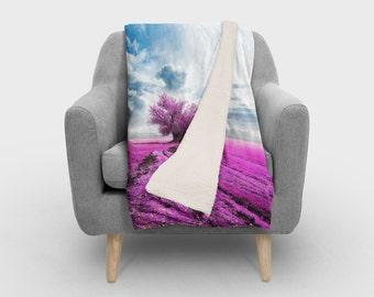 Purple Tree SHERPA Fleece  - Photography Fleece Photo Blanket / SHERPA Fleece Throw/ Accent Throw/ Fleece Blanket / Made To Order