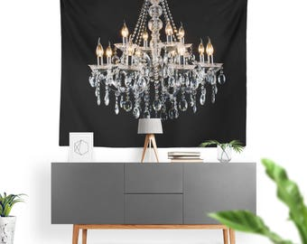 Art Tapestry Glamour Chandelier Black White Fine Art Photography. Wall Tapestry. Art Wall Hanging. Diva, Glamour, Chandalier, Wall Art 2
