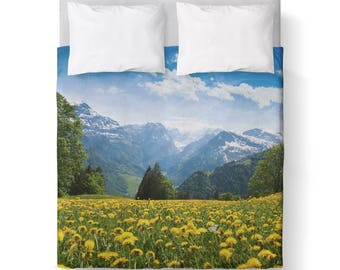 Mountain scape Blue Duvet Cover/ Bedding/ Comforter Cover/ Twin, Queen, King/ Made To Order/ Mountain Scape Blue, Duvet Cover