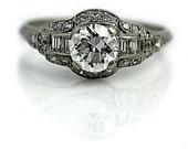 Antique Engagement Ring Art Deco Engagement Ring 1.55ctw European Cut Diamond Filigree Platinum Vintage Ring Art Deco Diamond Wedding Ring