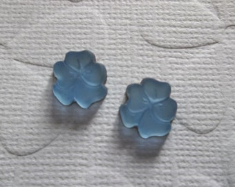 Light Blue Sapphire Pansy - 10mm Glass Flower Cabochons - Made in Germany - Qty 2