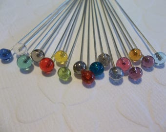 Glass Ball End Headpins - Silver with Assorted Color Glass Heads - 21 / 22 gauge - 2 inch Head Pins - Qty 17 pieces