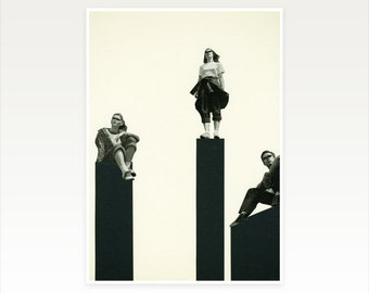Modern Collage Art, People, Black and White Wall Art, Art for Man - No Man is an Island