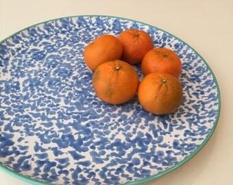 Large Speckled Ceramic Platter / Cornflower Blue and Aqua rimmed plate / Large Blue Serving Platter / Speckled Ceramic Platter