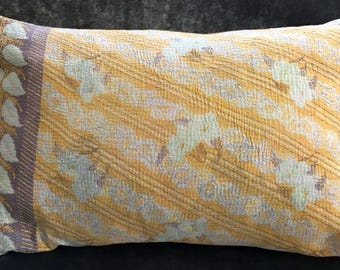 Pillow Cushion Cover Kantha 16 x 24 inch 40 x 60 cm Pink Yellow Flowers. Handmade with Passion