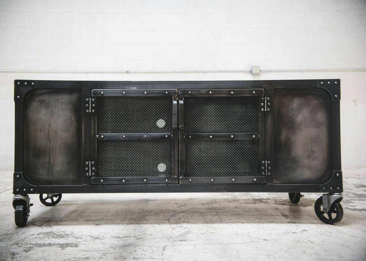 Industrial Rolling Media Cabinet Tv Stand On Casters Console