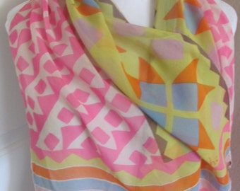 "Echo // Beautiful Vintage Colorful Sheer Silk Scarf // 16"" x 42"" Long"
