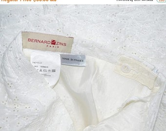 ON SALE BERNARD Zins Paris White Embroidered Skirt Size 4 France 34 Tiepolo Poly-Cotton Spring Summer