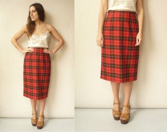 Vintage 1990's Check Grunge Tartan Pencil Wiggle Skirt Size S/M