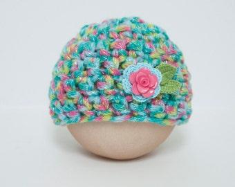 Newborn Girl Rainbow Flower Hat Spring Beanie Baby Photo Prop RTS Muliticolor Easter