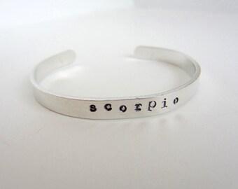 Scorpio Bracelet Aluminum Cuff Zodiac Jewelry Scorpio Birthday Gift October November Birthday