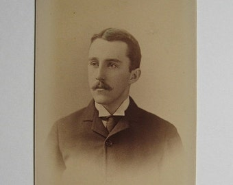 ON SALE Victorian 1800s Cabinet Card Photograph Sepia Handsome Man Gilbert & Bacon Philadelphia Collectible