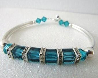 Birthstone Bracelet, Indicolite Bracelet, Swarovski Bracelet, December Birthstone, Birthday, Mother Day, Free US Shipping