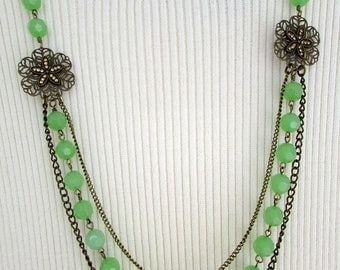 Green Necklace, Triple Strand Necklace, Brass Necklace, Layered Necklace, Statement Necklace, Vintage Necklace, Free US Shipping