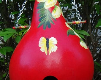 Blazing  Red Birdhouse Gourd With Tropical Yellow Flowers And  Flowing Butterflies